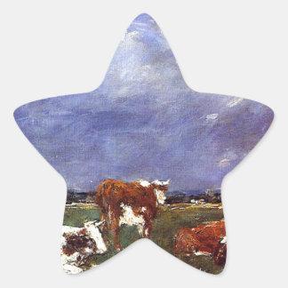 Vacas en el pasto de Eugene Boudin Pegatina En Forma De Estrella