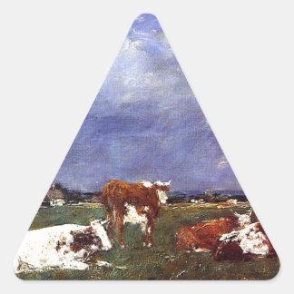 Vacas en el pasto de Eugene Boudin Pegatina Triangular