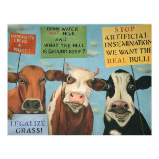 Vacas en huelga plantilla de membrete