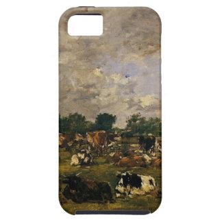 Vacas en los campos de Eugene Boudin iPhone 5 Funda