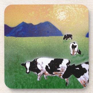 vacas en niebla del verano posavasos