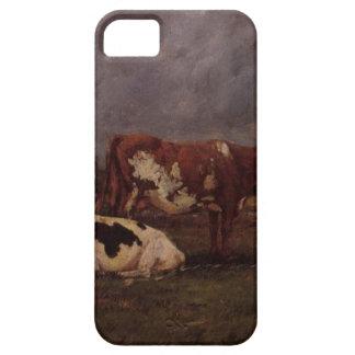 Vacas en pasto de Eugene Boudin iPhone 5 Carcasas
