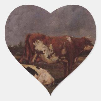 Vacas en pasto de Eugene Boudin Pegatina En Forma De Corazón