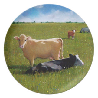 Vacas en pasto soleado: Granja, país: Arte en colo Platos De Comidas