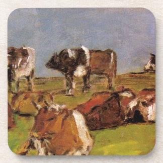 Vacas en un campo de Eugene Boudin Posavasos De Bebidas