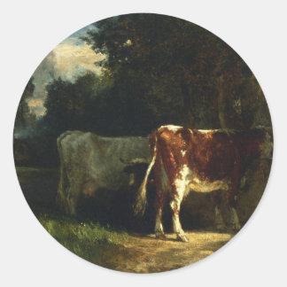 Vacas en un paisaje por Troyon constante Pegatina Redonda