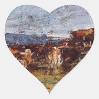 Vacas en un pasto de Eugene Boudin Pegatina En Forma De Corazón