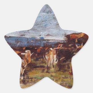 Vacas en un pasto de Eugene Boudin Pegatina En Forma De Estrella