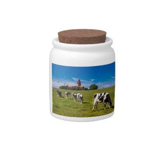 Vacas en un prado con el faro plato para caramelo