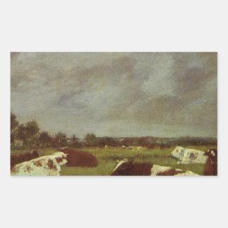 Vacas en un prado, efecto de la mañana de Eugene Pegatina Rectangular