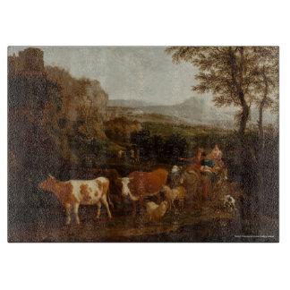 Vacas en una tabla de cortar italiana del paisaje