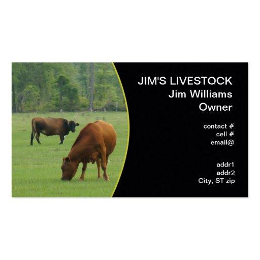 vacas marrones que pastan tarjetas de visita