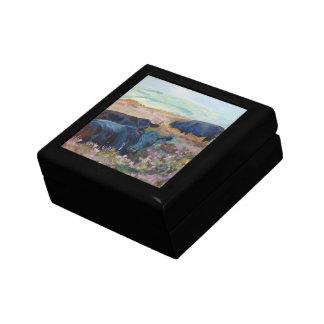 Vacas negras que mienten abajo pintura de paisaje caja de regalo