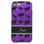Vacas púrpuras personalizadas del brillo del añil funda de iPhone 6 tough