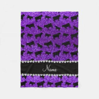 Vacas púrpuras personalizadas del brillo del añil manta polar