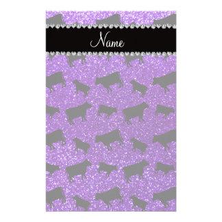 Vacas púrpuras personalizadas del brillo del añil papelería