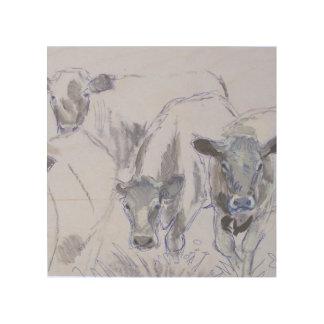 vacas que dibujan en la madera cuadro de madera