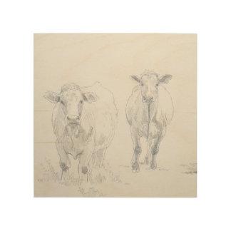 vacas que dibujan en la madera cuadros de madera