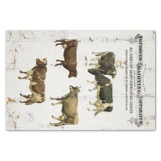 Vacas rústicas viejas del estilo del vintage de la papel de seda pequeño