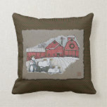 Vacas y granero de la nieve almohada
