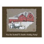 Vacas y granero de la nieve invitación 10,8 x 13,9 cm