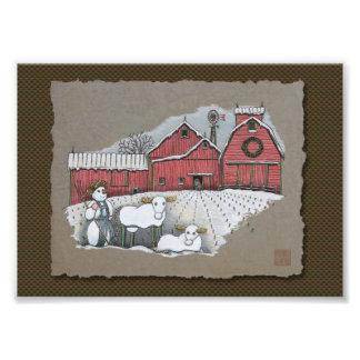 Vacas y granero de la nieve cojinete