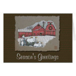 Vacas y granero de la nieve tarjeta de felicitación
