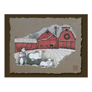 Vacas y granero de la nieve tarjeta postal