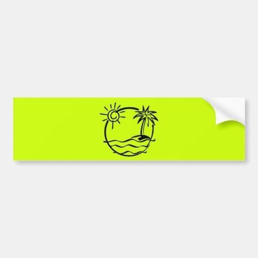vacation15_112607 TROPICAL VACATION ISLAND SKETCH Bumper Stickers