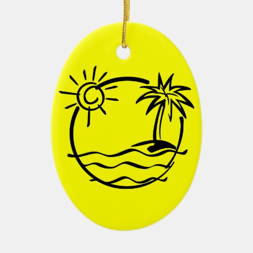 vacation15_112607 TROPICAL VACATION ISLAND SKETCH Double-Sided Oval Ceramic Christmas Ornament