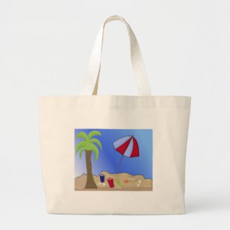 Vacation Beach Scene Large Tote Bag
