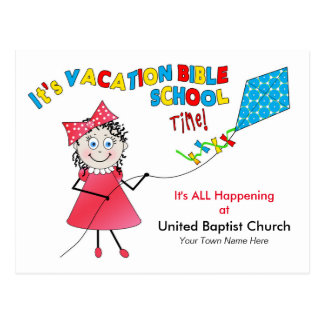 VACATION BIBLE SCHOOL POSTCARD - GIRL FLYING KITE