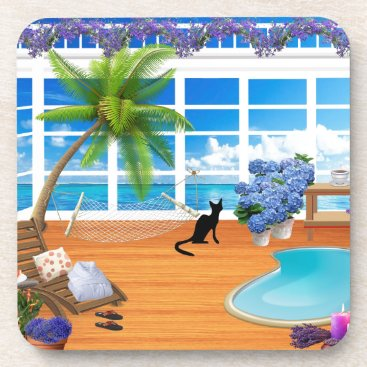 takeme4aride VACATION COASTERS, CUTE CAT AT SPA, PALM TREES DRINK COASTER