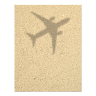 Vacation Concept. Sandy Beach With Shadow Plane Flyer