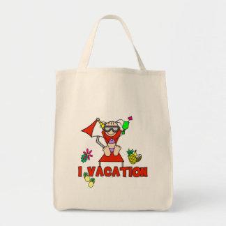 Vacation figura bolso del palillo del chica bolsa tela para la compra