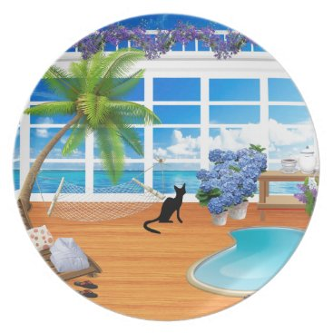 takeme4aride VACATION HOME GIFTS, BLACK CAT AT SPA PLATE