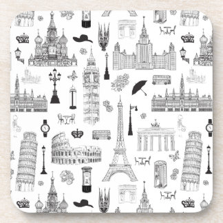 Vacation In Europe Pattern Drink Coaster