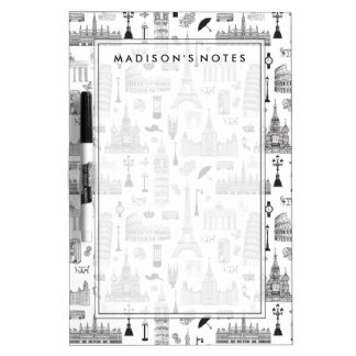 Vacation In Europe Pattern Dry Erase Board