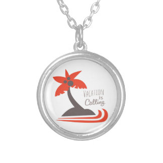 Vacation Is Calling Round Pendant Necklace