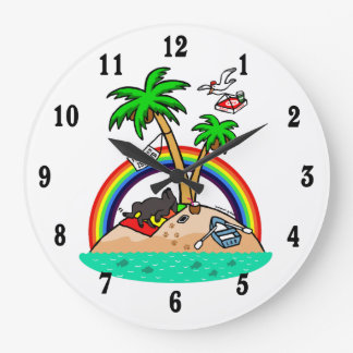 Vacation Island Black Labrador Wall Clock