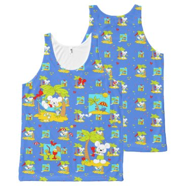 Beach Themed Vacation Mouse All-Over-Print Tank Top