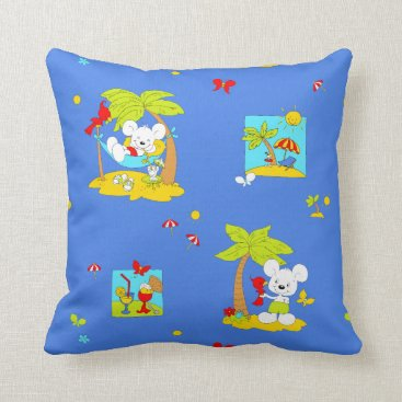 Beach Themed Vacation Mouse Throw Pillow