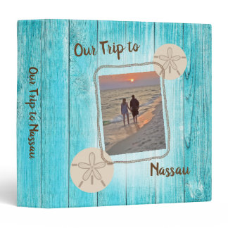 Vacation Photo Album Blue Board Sand Dollar 3 Ring Binder