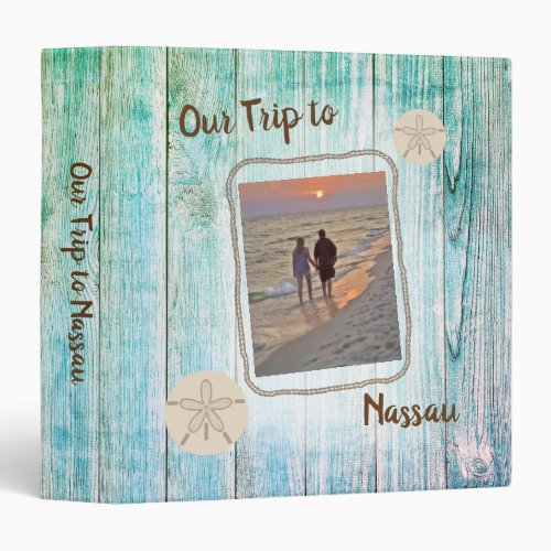 Vacation Photo Album Distressed Boards Sand Dollar 3 Ring Binder