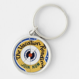 Vacation Reading Club Silver-Colored Round Keychain
