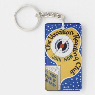 Vacation Reading Club Single-Sided Rectangular Acrylic Keychain