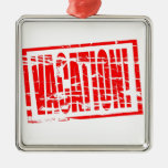 Vacation Red Rubber passport stamp effect Christmas Ornament