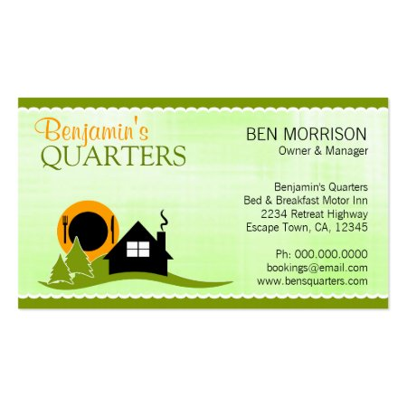 Cute Lime Green Cottage Lodge Bed and Breakfast Business Cards