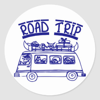 Vacation Road Trip Classic Round Sticker