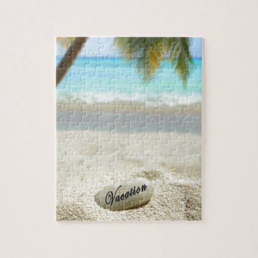 Vacation stone on beach puzzle